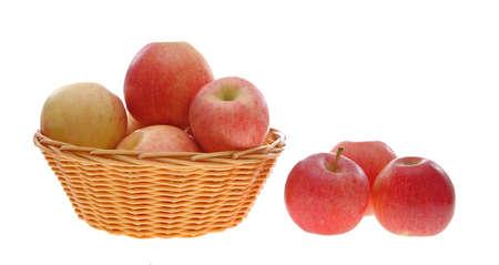 gala and fuji apples and basket Stok Fotoğraf