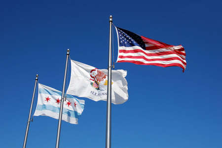 America, Chicago, and Illinois flags Stok Fotoğraf