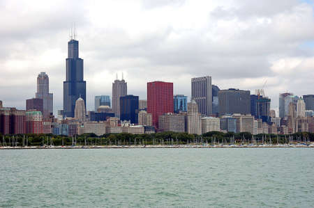 chicago landscape in cloudy sky