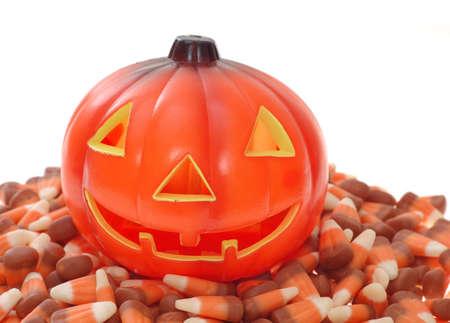 pumpkin shape and candy Stok Fotoğraf
