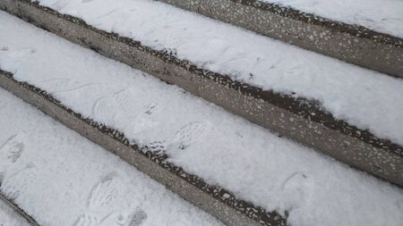 Steps in marble  Snow on the steps  Stone products