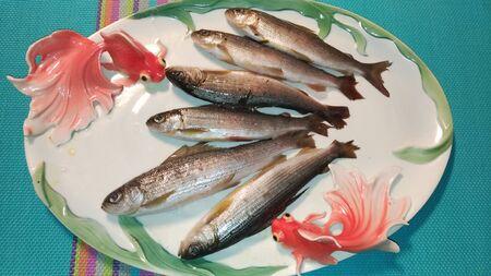 Fresh sea fish on a plate / Fresh seafood