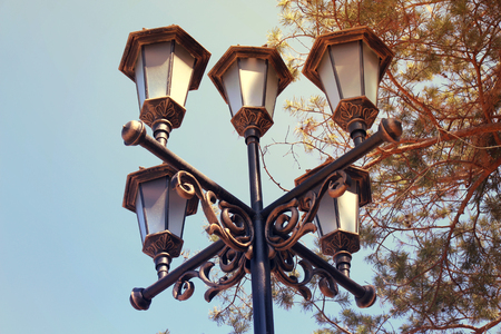 Vintage street lights in retro style