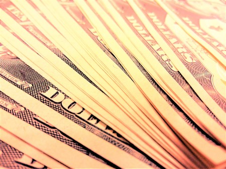 ten dollar bills on the table close-up Stock Photo