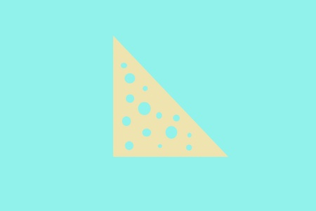 triangular piece of cheese with holes on a mint background. Banque d'images