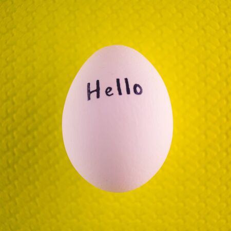 White chicken egg with black inscription hello on a yellow background