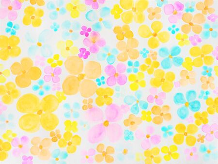 Seamless pattern of watercolor flowers in pink, orange and blue colors. Flower glade brush drawing, cute abstraction Stock Photo