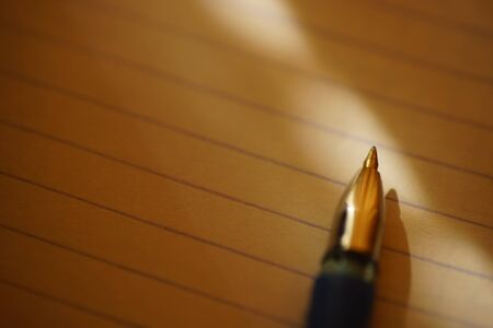 pen on notebook paper in a line, macro photo, place for text