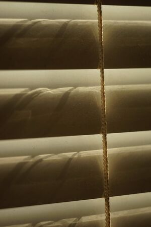 closed horizontal blinds through which the sun shines, macro 写真素材