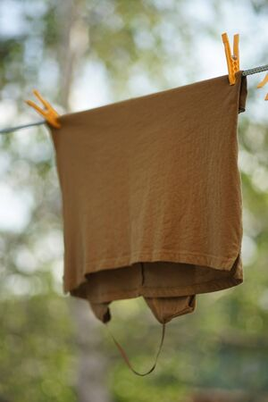 brown t-shirt dry on a rope with clothespins in the garden. 版權商用圖片
