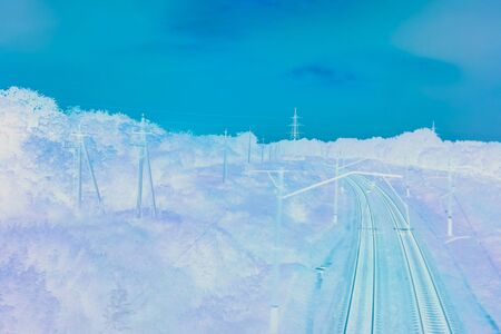 Railway landscape in infrared