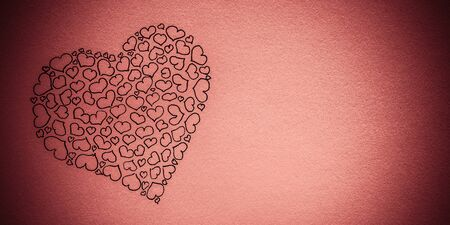 Big heart made up of small hearts. Figure black pen on a pink background. Place for text. Postcard. Valentines Day. Love concept