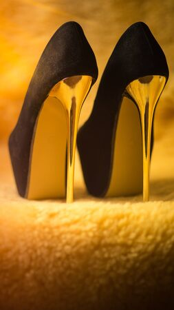 black womens shoes with high golden heels Imagens