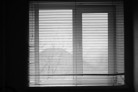 Opened old horizontal metal jalousie. Background blinds. Black and white photo