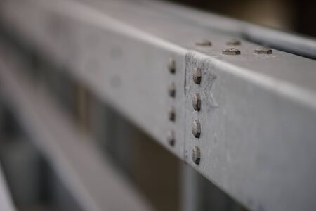 bolt caps on steel structure close-up