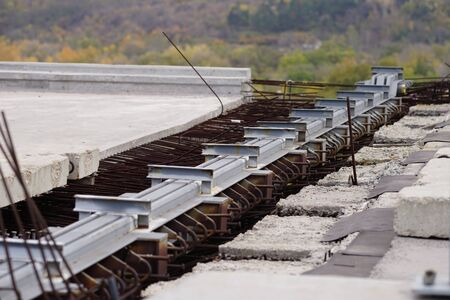 reinforcing bars in the reinforced concrete structure of the bridge road