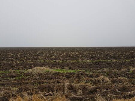 Autumn landscape a plowed field in a light fog