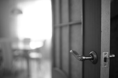 Door end with chrome handle in the room. BW photo.