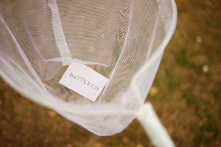 White butterfly net and a piece of paper with the text butterfly inside. Hobby in nature. Zdjęcie Seryjne