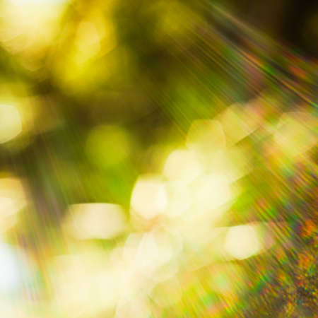 Blurred bokeh background with solar glow spectrum of rays in all shades.