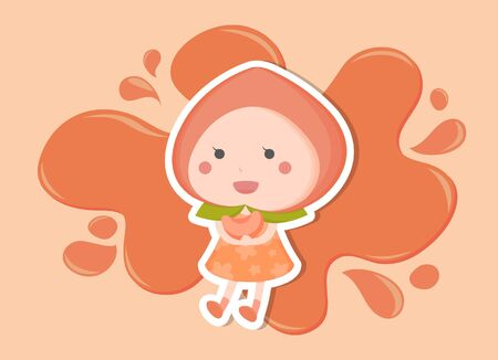 Illustration juicy peach girl standing in front of pink water Vettoriali