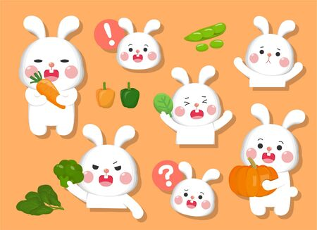 The rabbit combines a lot of expressions, happy, sad, angry, doubt, plus a lot of healthy vegetables and fruits set
