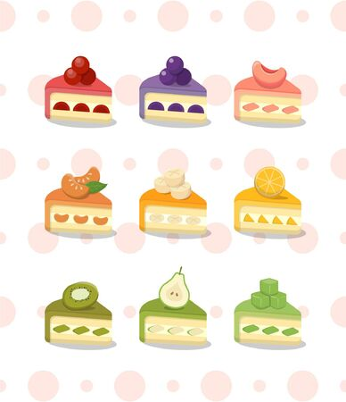 Fresh cream cake with afternoon tea and many kinds of fruits on polka dot background 일러스트