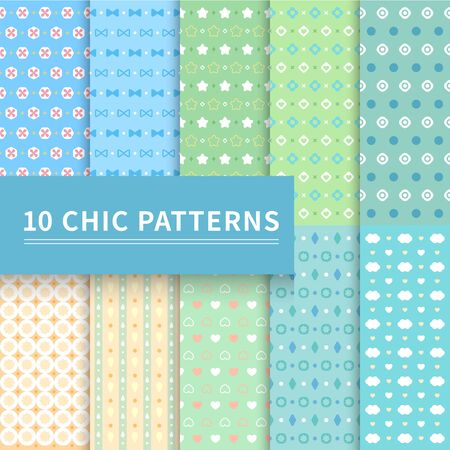 10 different classic blue and green geometric patterns. Çizim