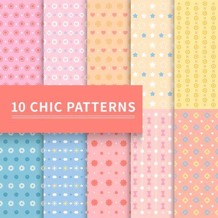 10 different pink geometric classic patterns. Çizim