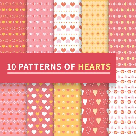 10 different classic patterns of pink love hearts. Endless texture can be used for wallpaper, pattern, web page background, surface texture, dots, greeting card, invitation card, valentines day, scrapbook, seamless background, red, orange, white