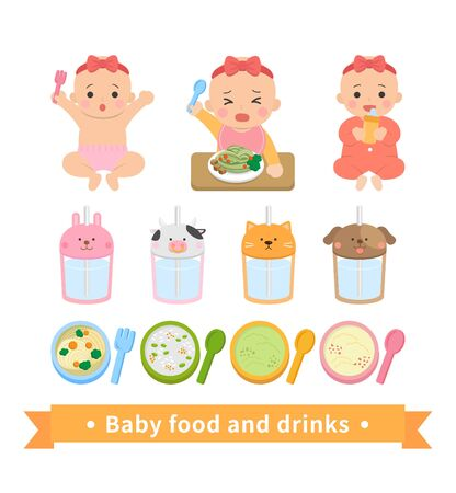 Girls little babies eat and eat noodles, drink water, noisy, happy, red, baby puree, baby food with fork spoon, ribbon Vettoriali