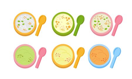 Baby's porridge, baby's fruit puree, there are many colors and nutrition, vitamins, make the baby happy to eat lunch and dinner, isolated on white background, illustration comics