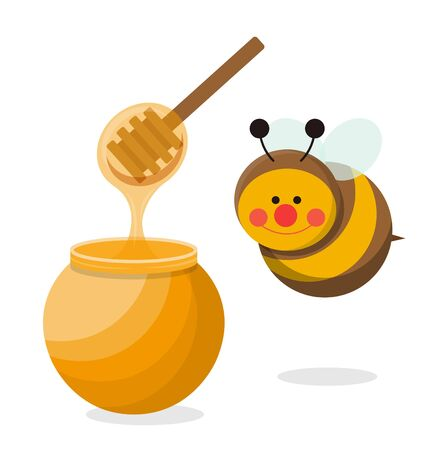 Cute honey jar with bees isolated in white background Vettoriali