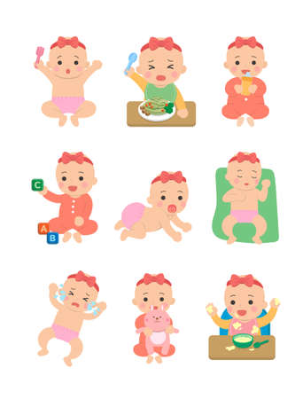 Cute happy baby and her daily set of cute cartoon babies and baby illustrations, baby diapers, crawling babies, eating baby noodles Vettoriali