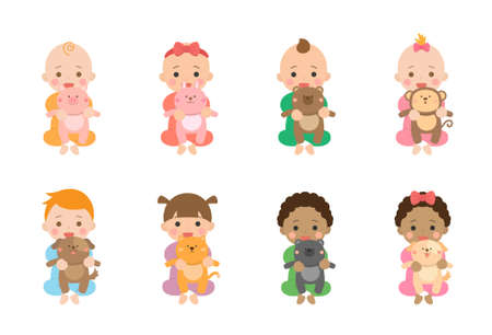 Cute babies and their daily set of cute cartoon babies and baby illustrations, baby playing dolls and animal dolls