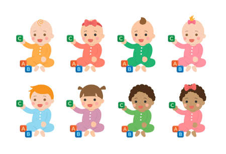 Cute babies and their daily set of cute cartoon babies and baby illustrations, babies playing with toys and building blocks