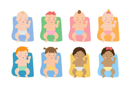 Cute babies and their daily set of cute cartoon babies and baby illustrations, babies sleeping on the blanket Çizim