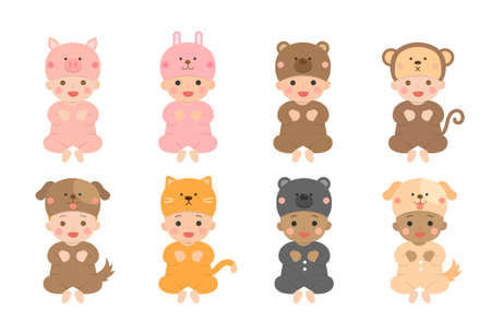 Cute babies and their daily set of cute cartoon babies and baby illustrations, babies wear animal-shaped clothes, animal shapes