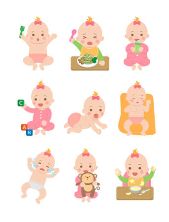 Cute happy baby and her daily set of cute cartoon babies and baby illustrations, baby diapers, crawling babies, eating baby noodles Vectores