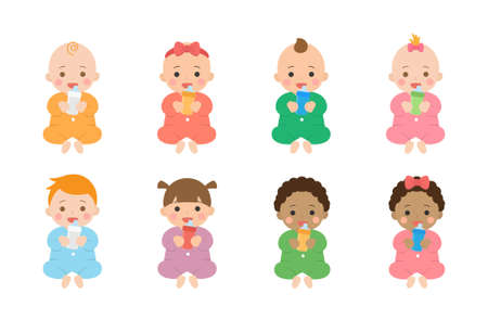 Cute happy babies and their daily set of cute cartoon babies and baby illustrations, babies drink milk