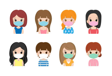 Many kinds of women, girls, wearing masks, colds, cute, smiling, expressions, hair color, illustrations, set