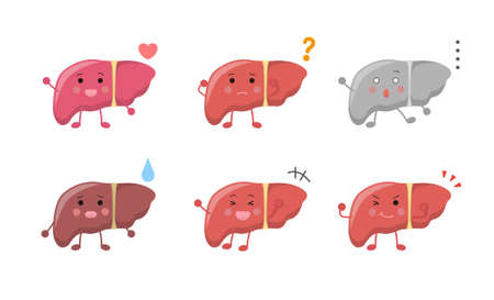 Health, happy, doubt, speechless, sad, unhealthy, laugh, happy, fighting spirit, positive, liver, illustration icon cartoon character, vector flat design, isolated on white background