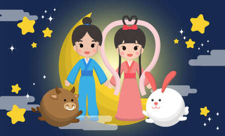 Chinese Festival, Chinese Tanabata Festival, Tanabata, cartoon illustration Cowherd and Weaver Girl, in love, holding hands, cow and rabbit, moon and stars, July 7