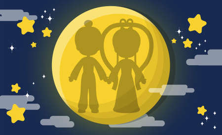 Chinese festival, Chinese Tanabata Festival, Tanabata, cartoon illustration Cowboy and Weaver Girl shadow, holding hands, cow and rabbit, full moon and stars
