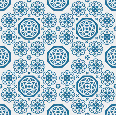 Porcelain pattern, seamless blue and white design, porcelain background, Chinese texture, tiles, vector illustration