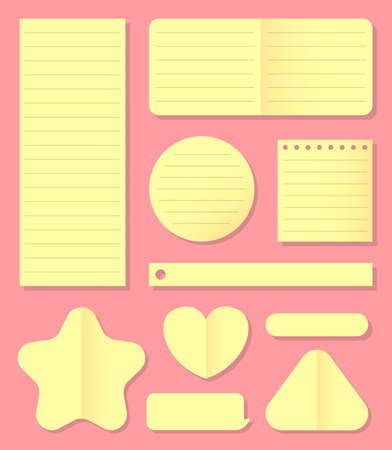 Different post it notes with paper, brochure templates, stickers, lined blank paper patterns, set, isolated