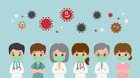 Medical workers, nurses, surgical staff, medical care, medical staff, wearing masks to isolate the virus, PM 2.5, flat cartoon comic vector illustration