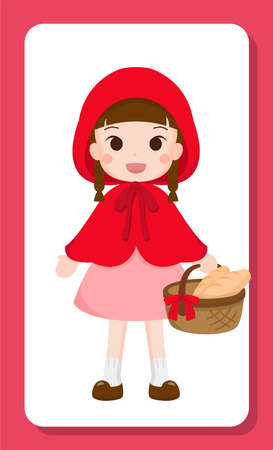 Brown-haired cartoon girl in dress and cape, carrying basket Ilustração