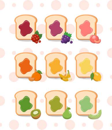 9 kinds of fruit jam toast on polka dot background