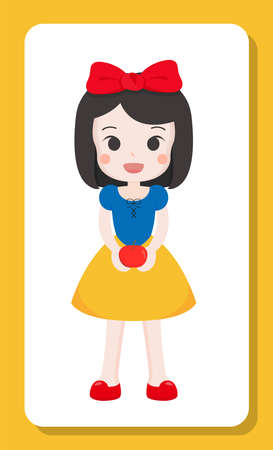 Black-haired cartoon girl in dress and ribbon, holding apple 向量圖像